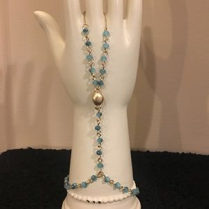 Jewelry - Gold & Faceted Turquoise Ring Bracelet